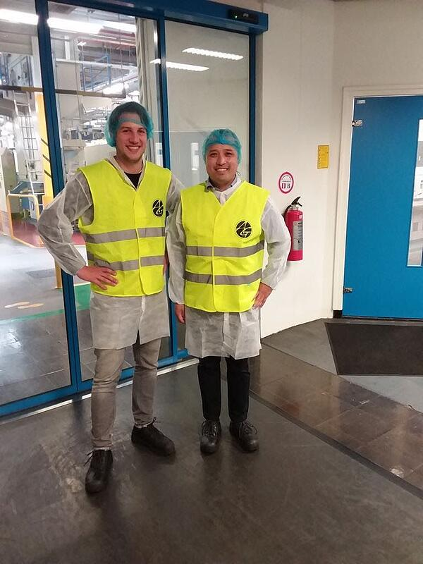 Frank and Stenly on a site visit to one of Ardagh's glass production plants